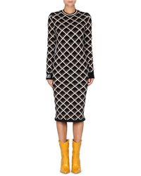 5bf7369cc652 Fendi - Long-sleeve Logo-knit Midi Dress - Lyst