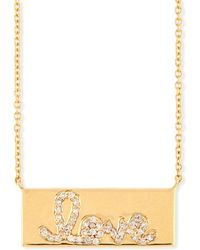 Sydney Evan - Pavé Diamond Love Bar Necklace - Lyst