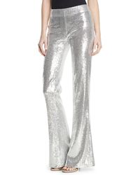 Galvan London - Flared-leg Stretch-sequin Galaxy Pants - Lyst