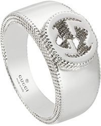 Gucci - Men's Silver Interlocking G Band Ring - Lyst