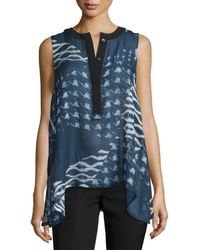 Public School - Cyra Printed Silk-blend Top - Lyst