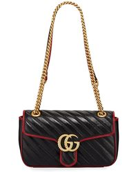 b4d296421688 Gucci GG Marmont Chevron Leather Shoulder Bag in Black - Lyst