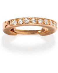 Repossi - Mini Half Pave Diamond Single Hoop Earring In 18k Gold - Lyst