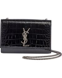 Saint Laurent - Kate Monogram Small Croco Patent Crossbody Bag - Lyst 554bb16643e21