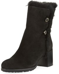 Aquatalia - Evangeline Fur-trim Block-heel Boot - Lyst