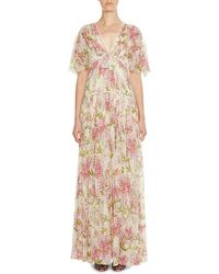 Giambattista Valli - Floral-print Short-sleeve Tiered Gown - Lyst