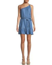 PAIGE - Lauretta One-shoulder Belted Chambray Mini Dress - Lyst