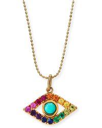 Sydney Evan - Large Evil Eye Rainbow Sapphire Pendant Necklace - Lyst