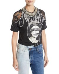 AO.LA by alice + olivia - Carter Lace-shoulder Embellished Tee - Lyst