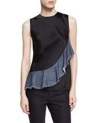 Helmut Lang - Sateen Sleeveless Denim Ruffle Top - Lyst