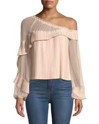 Ramy Brook - Aurora One-shoulder Pleated Long-sleeve Top - Lyst