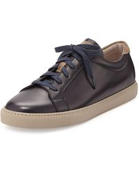 Brunello Cucinelli - Leather Lace-up Low-top Trainer - Lyst