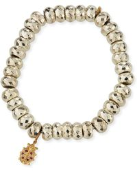 Sydney Evan - Faceted Pyrite Beaded Bracelet With Ladybug Charm - Lyst