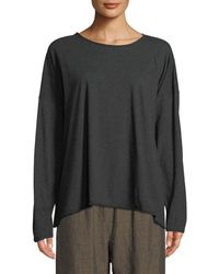 Eskandar - Long-sleeve Scoop-neck Pima Cotton Top - Lyst