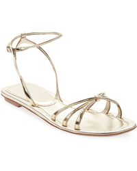 2aee8485f24c2 Prada - Flat Metallic Leather Strappy Sandals - Lyst