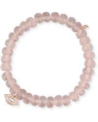 Sydney Evan - Rose Quartz Bead Bracelet W/ 14k Diamond Lips Charm - Lyst