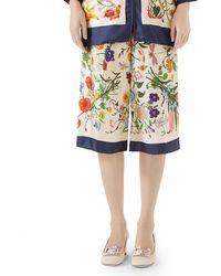 Gucci - Floral-print Silk Twill Cropped Pajama Culottes - Lyst