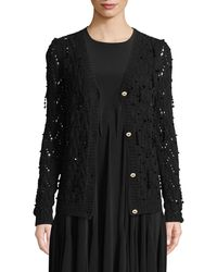 Co. - Bead-embellished Hand-knit Crochet Wool-cashmere Cardigan - Lyst
