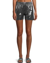 Norma Kamali - Boyfriend Metallic Athletic Shorts - Lyst