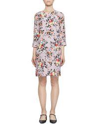 Erdem - Emma 3/4-sleeve Floral Silk Shift Dress - Lyst