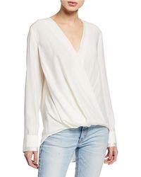 48e1f502c8317 Lyst - Rag   Bone Victor Surplice-neck Long-sleeve Silk Blouse With ...