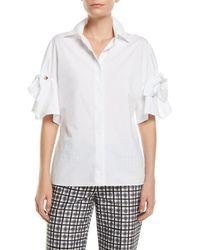 Michael Kors - Tie-sleeve Button-front Cotton Poplin Shirt - Lyst