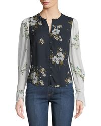 b2bdee5c913aea Joie - Abboid Floral Silk Long-sleeve Top - Lyst