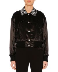 Miu Miu - Button-front Crystal-embroidered Sateen Jacket - Lyst