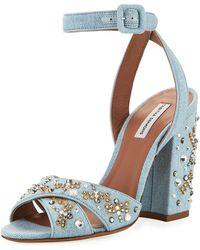 Tabitha Simmons - Connie Sequined Denim Ankle-strap Sandal - Lyst