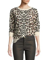 Mother - The Square Leopard-print Crewneck Pullover Top - Lyst