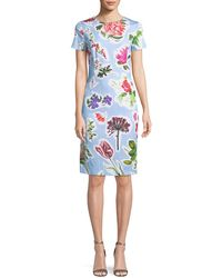Carolina Herrera - Crewneck Short-sleeve Floral-print Daytime Sheath Dress - Lyst