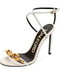 Tom Ford - Leather Sandals With Chain Trim - Lyst