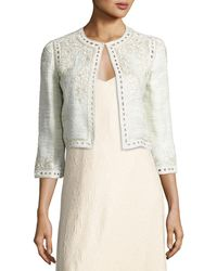 Monique Lhuillier - Embroidered Boucle Cropped Jacket - Lyst