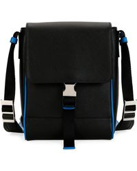 b901489e3d Lyst - Prada Saffiano Leather Messenger Bag in Blue for Men