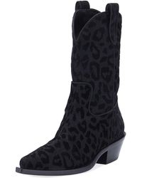 Dolce & Gabbana - Leopard-flocked Western Tall Boots - Lyst