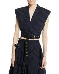 3.1 Phillip Lim - Cropped Pinstripe Vest With Sculpted Shoulders & Belt - Lyst