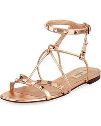 7f910131edd0 Lyst - Valentino Rockstud Ankle-strap Flat Sandal in Black