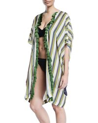 VERANDAH - Hand-beaded Panel-stripe Tiger Kimono W/ Tassels - Lyst