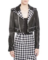Oscar de la Renta - Zip-front Cropped Leather Moto Jacket W/ Houndstooth Trim - Lyst