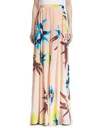 Delpozo - High-waist Fluid Wide-leg Floral-print Silk Pants - Lyst