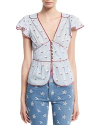 Marc Jacobs | Flutter-sleeve Rose Fil Coupe Blouse | Lyst