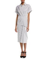 Jason Wu - Short-sleeve Stripe Cotton Poplin Shirtdress - Lyst
