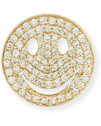 Sydney Evan - Large Pavé Diamond Happy Face Stud Earring - Lyst
