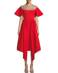 Delpozo - Flared-sleeve Tulle-yoke Fit-and-flare Cotton Cocktail Dress - Lyst