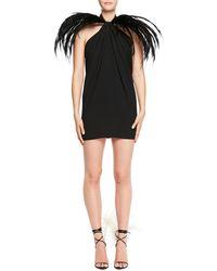 Saint Laurent - Feather-trim Halter Mini Dress - Lyst