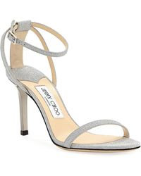 98a1122ba07 Lyst - Gucci Soko Glittered Ankle-wrap Platform Sandals in Metallic