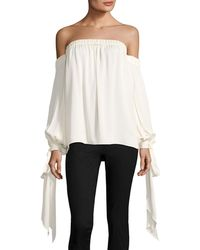 MILLY | Alba Off-the-shoulder Stretch-silk Top | Lyst