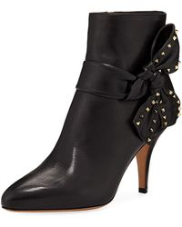 Valentino - Leather Ankle Booties With Side Bow - Lyst
