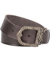 33be6f4a834a8b Saint Laurent - Men's Distressed Leather Belt With Ornate Buckle - Lyst