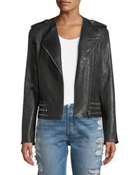 Nour Hammour - No-collar Studded Stretch Leather Moto Jacket - Lyst
